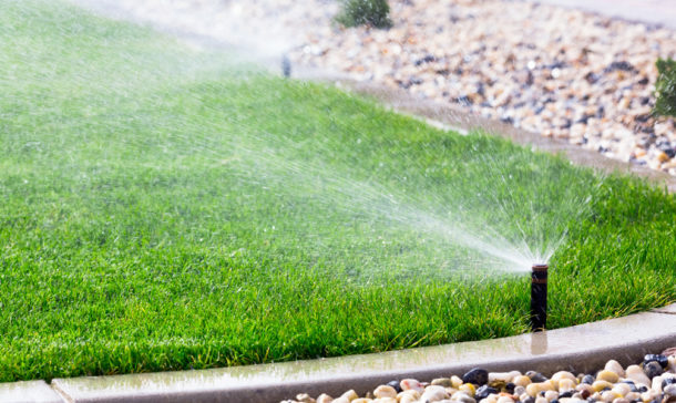 Irrigation sprinkler heads watering landscaped lawn