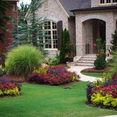 Front yard landscaping Land Visions Lansing Michigan