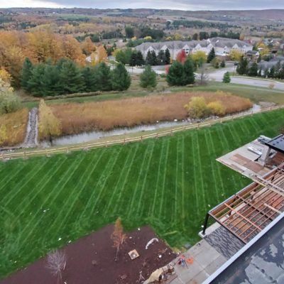 Birds eye view of mowed lawn Land Visions Lansing Michigan