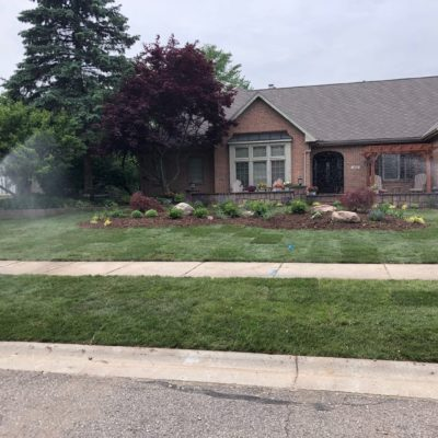 front yard irrigation and landscaping Land Visions Lansing Michigan