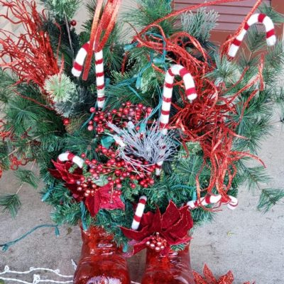 Holiday decorations shoes, candy canes Land Visions Lansing Michigan