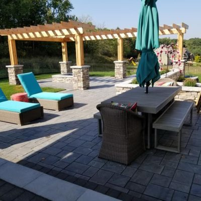 Land Visions Lansing Michigan Backyard tile flooring and pergola